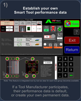 Establish your own Smart Tool performance data  If a Tool Manufacturer participates, their performance data is default, or create your own permanent data. Note: This feature is integrated tool by tool as data for each tool group becomes available. x 1)